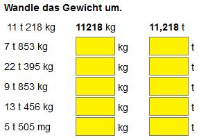 Gewichte berechnen